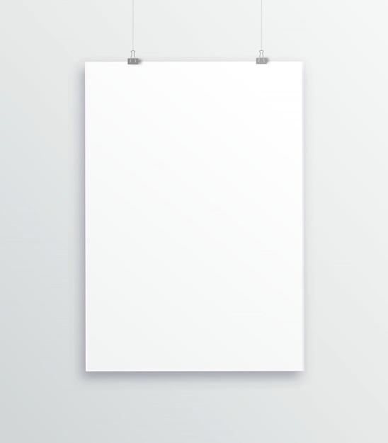 A3, a4 verticale lege fotolijst voor foto's. vector realistische papier of plastic witte foto-inlijsten mat met brede randen schaduw Premium Vector