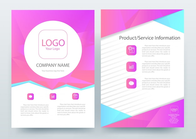 A4 brochure layout template met magenta polygon Gratis Vector