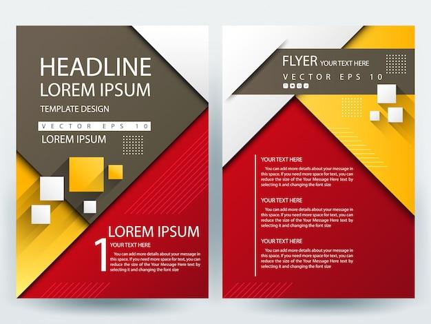 A4 brochure layout template met rood, geel en bruin geometrisch Gratis Vector