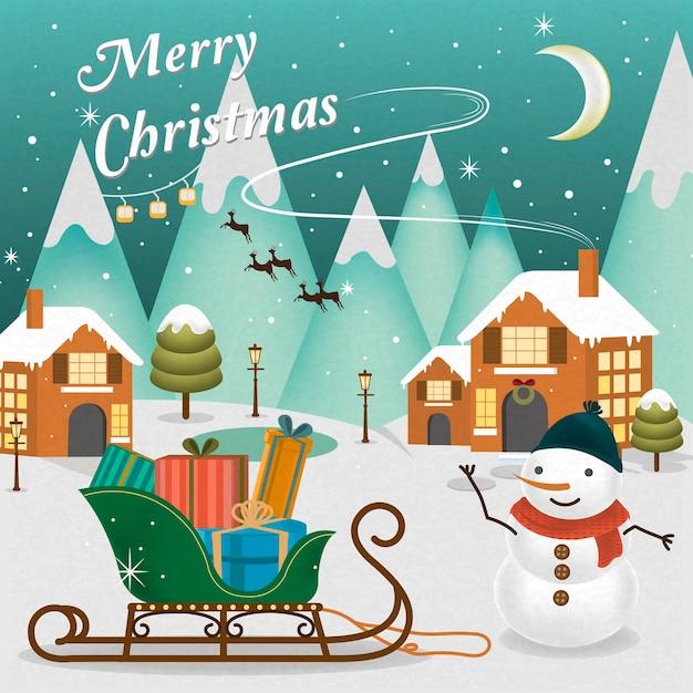 Aanbiddelijk vrolijk kerstmislandschap met sneeuwman die zijn hand golft Premium Vector