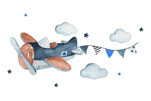 Aanbiddelijke hemelscène met vliegtuig, slinger, wolken en sterren, waterverfhand getrokken illustratie. Premium Vector