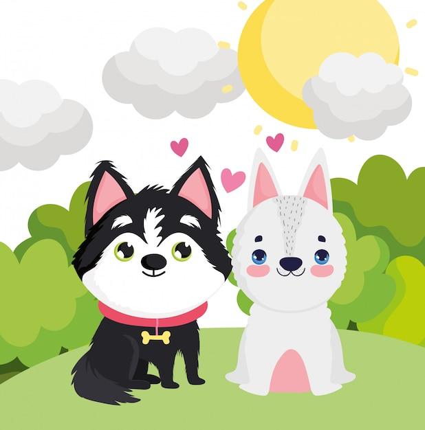 Aanbiddelijke puppy die in de huisdieren van het graslandschap zitten Premium Vector