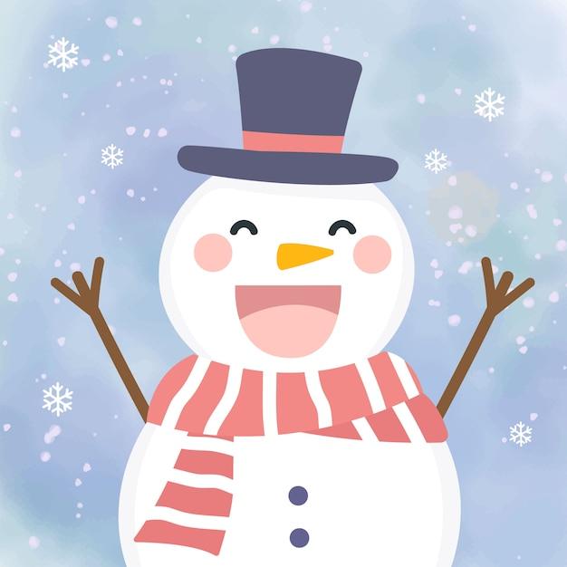 Aanbiddelijke sowman illustratie voor kerstmisdecoratie Premium Vector