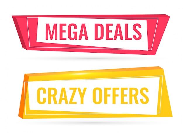 Aanbiedingen en aanbiedingen verkoopbanner in 3d-stijl Gratis Vector