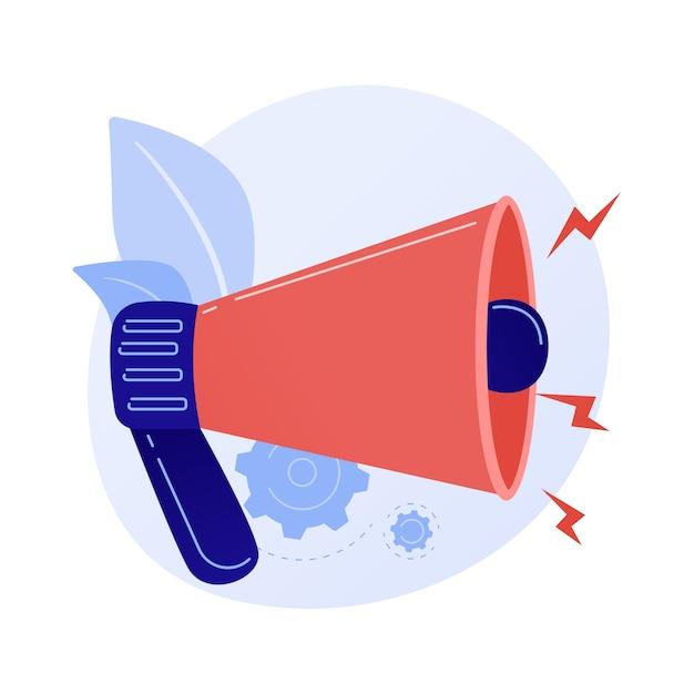 Aandacht attractie. belangrijke aankondiging of waarschuwing, informatie-uitwisseling, laatste nieuws. luidspreker, megafoon, megafoon met uitroepteken. Gratis Vector