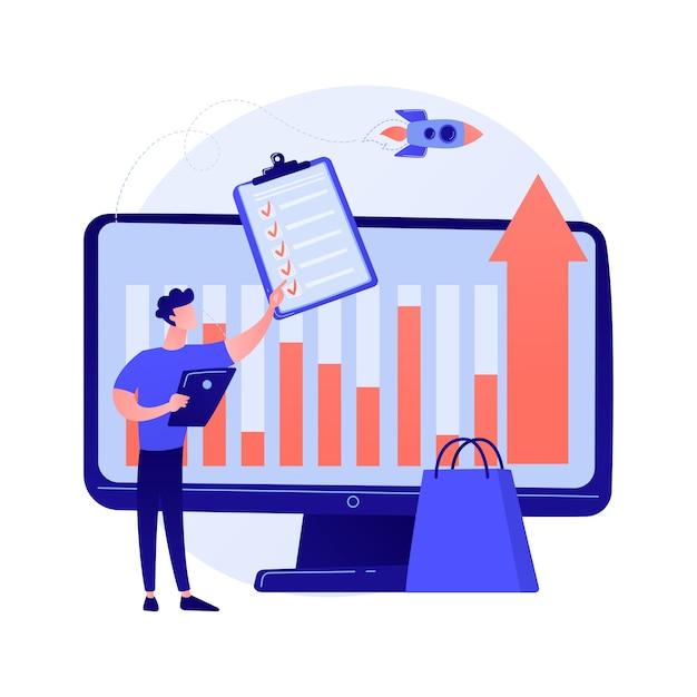 Aandeel in zaken, dividendberekening, procentuele verhouding. bijdrageomvang, aanbetalingsbedrag, boekhouding en audit. aandeelhouders stripfiguren Gratis Vector