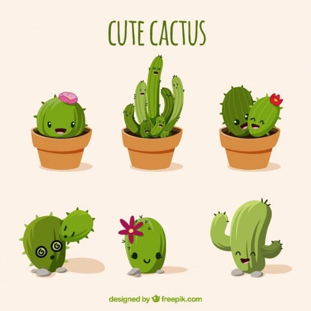 Aangenaam cactussen set Gratis Vector