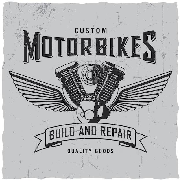 Aangepast motorlabel Gratis Vector