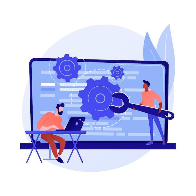 Aangepast stijlscript. website-optimalisatie, codering, softwareontwikkeling. vrouwelijke programmeur stripfiguur werken, javascript, css-code toevoegen. Gratis Vector
