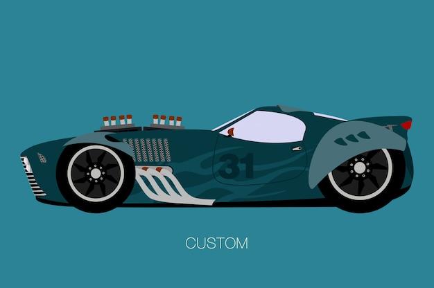 Aangepaste muscle car, zijaanzicht, platte ontwerpstijl Premium Vector