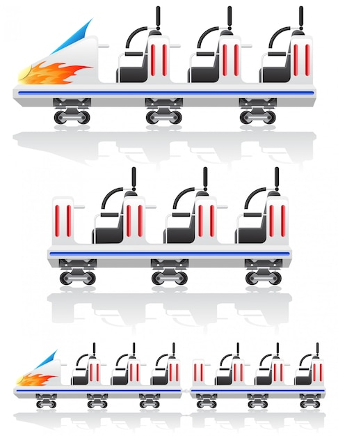 Aanhangwagens voor achtbanen vectorillustratie Premium Vector