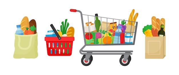 Aankoopset voor boodschappen. stoffen tas, springmand en trolley, papieren pakket met producten. voedsel en dranken, groenten en fruit. illustratie Premium Vector