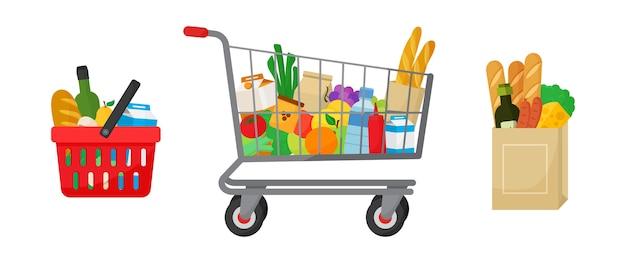 Aankoopset voor boodschappen. winkelmandje en trolley, papieren pakket met producten. voedsel en dranken, groenten en fruit. illustratie Premium Vector