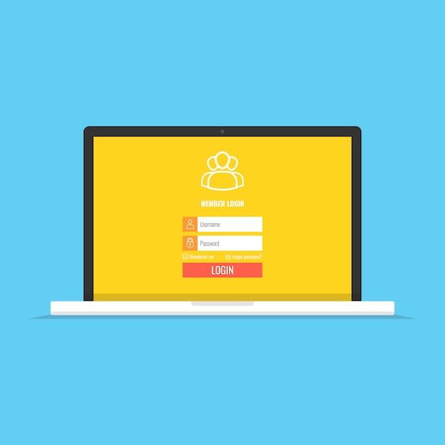 Aanmeldenpagina op laptopscherm Premium Vector