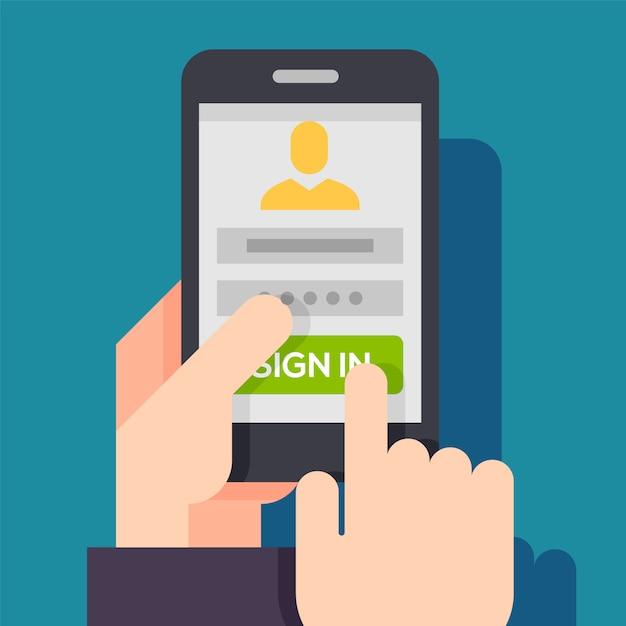 Aanmeldenpagina op telefoonscherm. Premium Vector