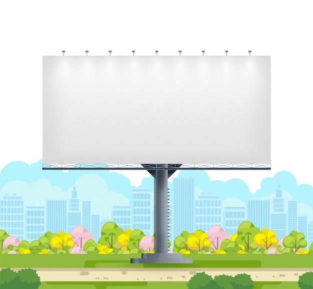Aanplakbordspatie op stadsstraat op witte achtergrond Premium Vector