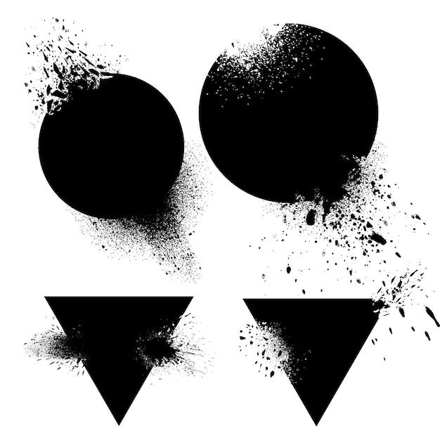Aantal badges met inkt spatten vector Gratis Vector