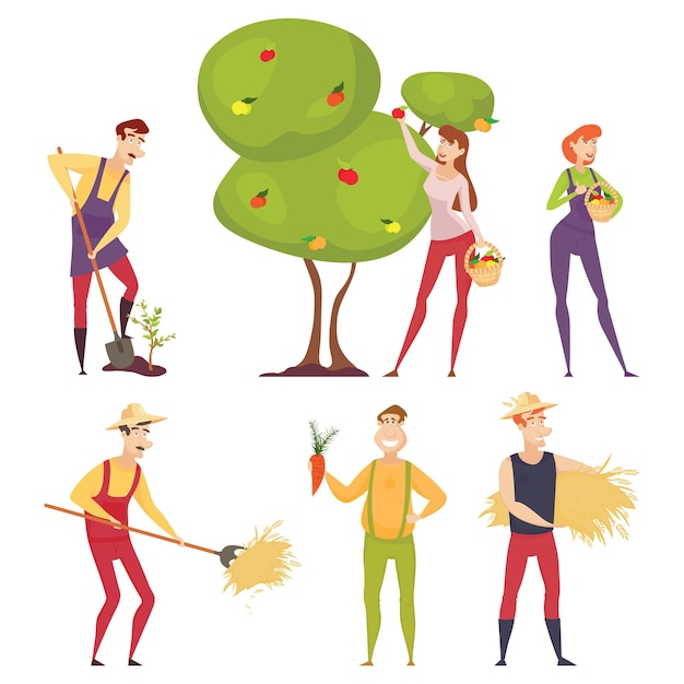Aantal boeren die landbouwwerktuigen gebruiken. boer met een schop, een hooivork. boer in een tarweveld werkt. boer oogsten. tuinman. Premium Vector