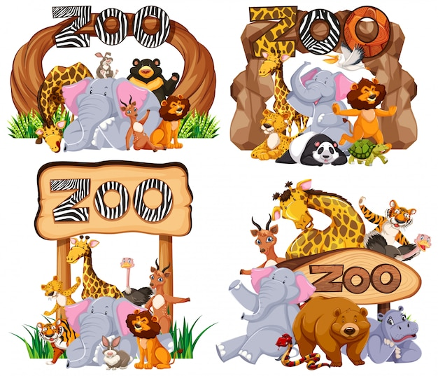 Aantal dieren bij de ingang teken Premium Vector