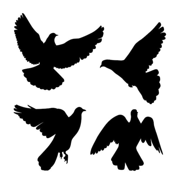 Aantal duiven silhouet. Premium Vector