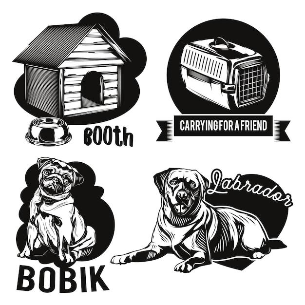 Aantal emblemen voor honden en dierenverblijven Gratis Vector