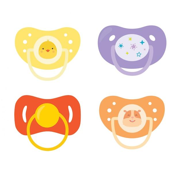 Aantal fopspenen voor kinderen. apparatuur voor babyverzorging. Premium Vector