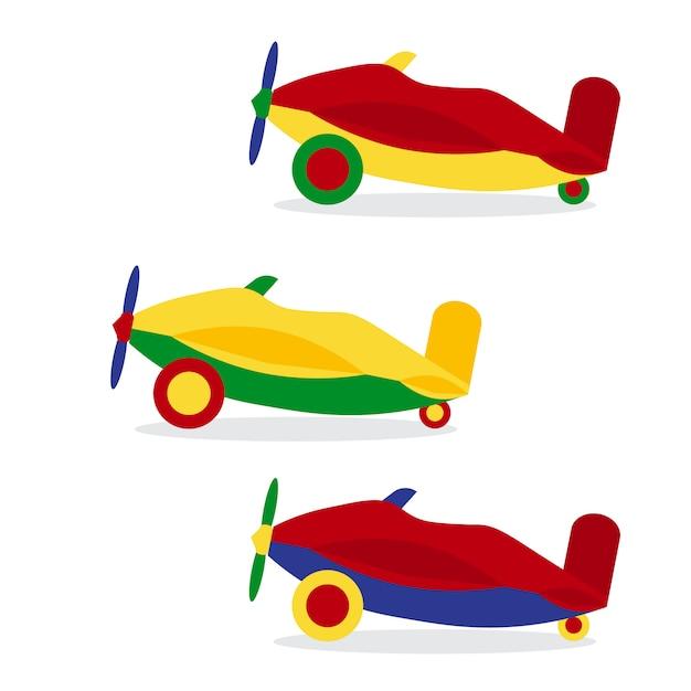 Aantal gekleurde vliegtuigen Premium Vector