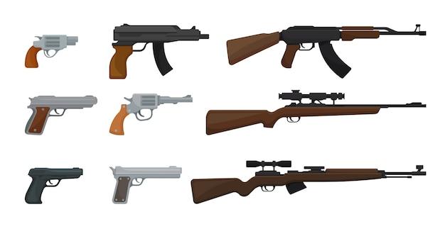 Aantal geweren geïsoleerd op wit Premium Vector