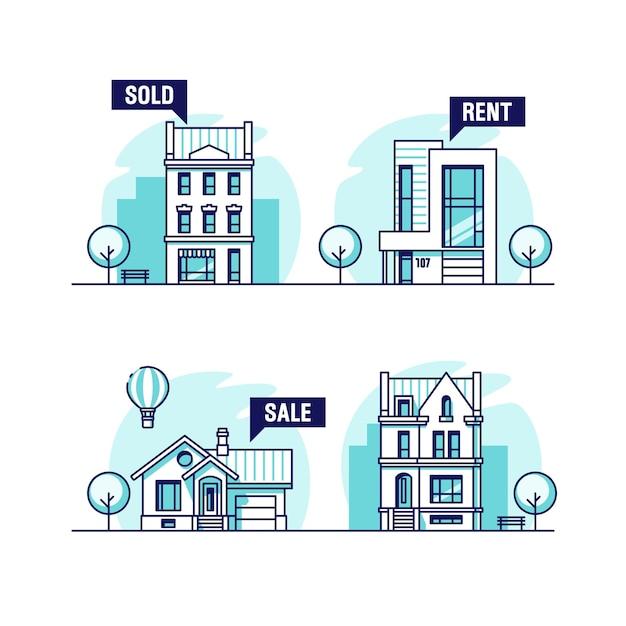 Aantal huizen in de stad en in de voorsteden. onroerend goed concept. Premium Vector