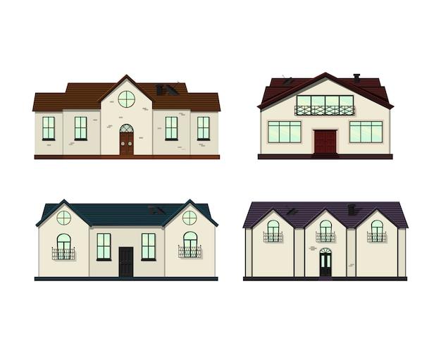 Aantal huizen op wit Premium Vector