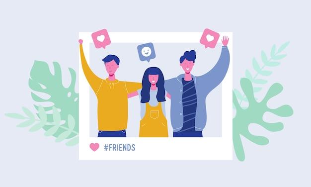 Aantal jonge mensen die foto maken op sociaal netwerk. met gelukkige mannelijke en vrouwelijke karakters, tieners, studenten. vriendschapsteamconcept, volgers likes, verhalen Premium Vector