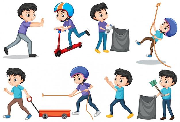 Aantal jongens die verschillende acties doen Gratis Vector