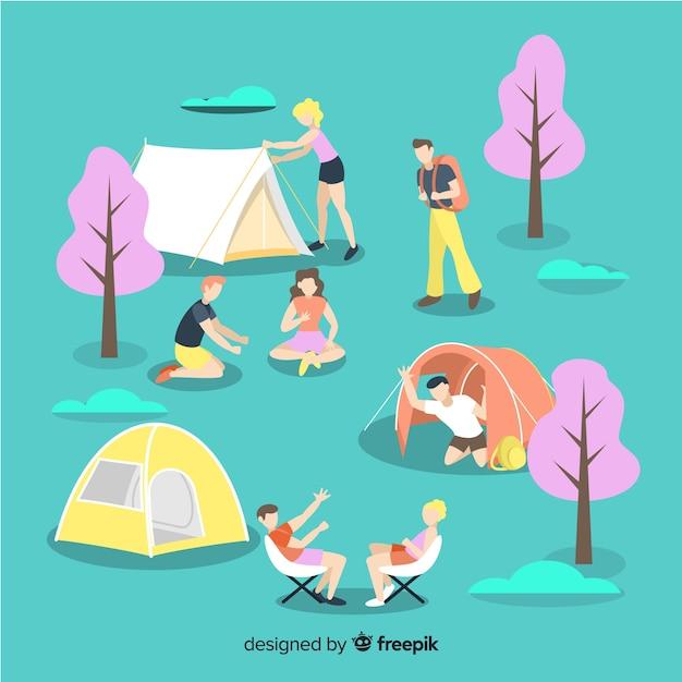 Aantal jongeren kamperen Gratis Vector