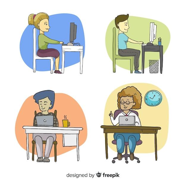 Aantal kantoormedewerkers achter hun bureau Gratis Vector