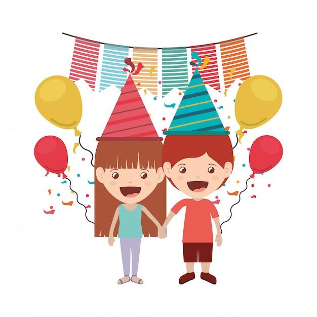 Aantal kinderen in verjaardagsviering Premium Vector