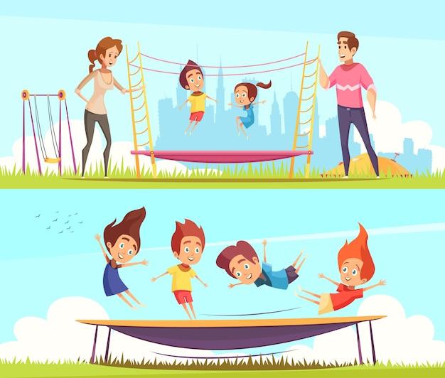 Aantal kinderen springen op trampolines Gratis Vector