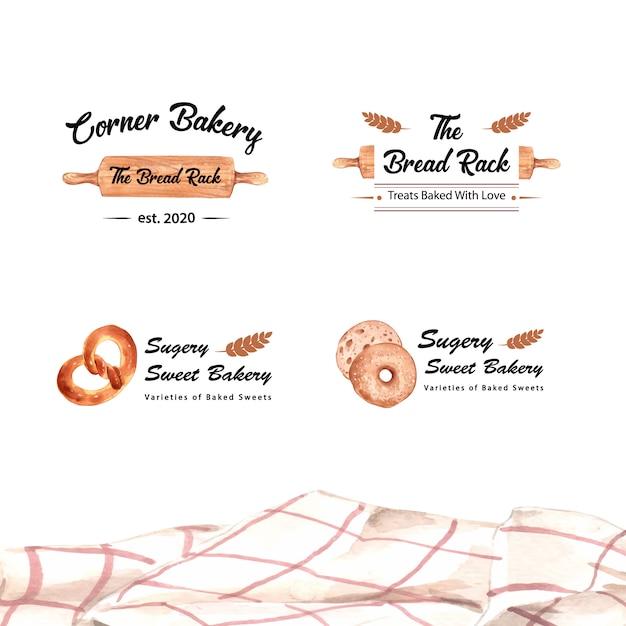 Aantal logo's van bakkerijwinkels Gratis Vector