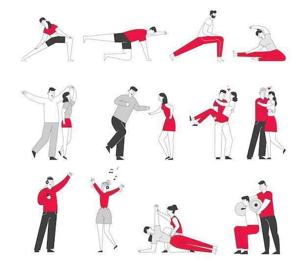 Aantal mannelijke en vrouwelijke karakters trainen in de sportschool Premium Vector
