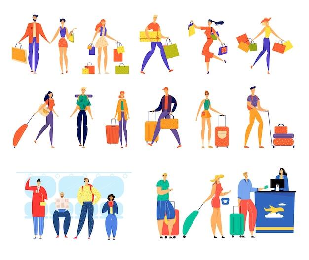 Aantal mannelijke en vrouwelijke karakters winkelen, reizen met bagage, rijden op de metro en in de wachtrij staan voor vliegtuigregistratie. Premium Vector