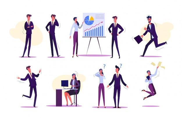 Aantal mensen interactie op het werk Gratis Vector