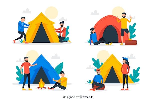 Aantal mensen kamperen in de natuur Gratis Vector