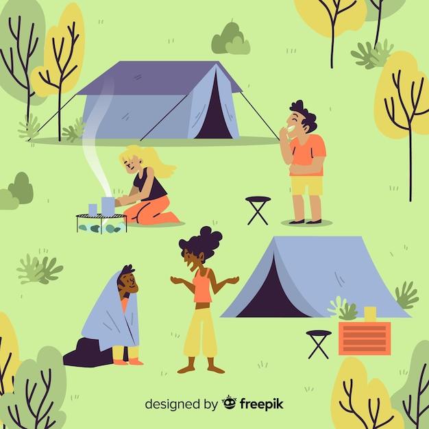 Aantal mensen kamperen platte ontwerp Gratis Vector