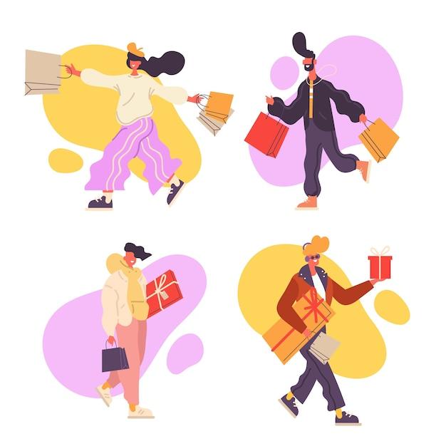 Aantal mensen met boodschappentassen Gratis Vector