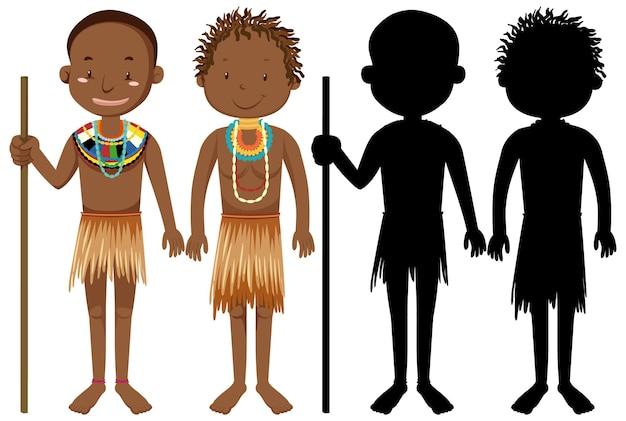 Aantal mensen van afrikaanse stammen karakter met zijn silhouet Gratis Vector