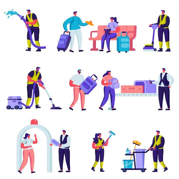 Aantal platte toeristen en schoonmaak service personeel in de luchthaven tekens Premium Vector