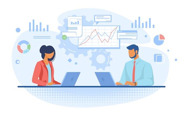 Aantal professionals die grafieken analyseren Gratis Vector