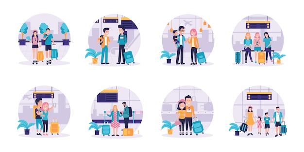Aantal reizende koppels en gezinnen met hun kinderen met bagage Premium Vector