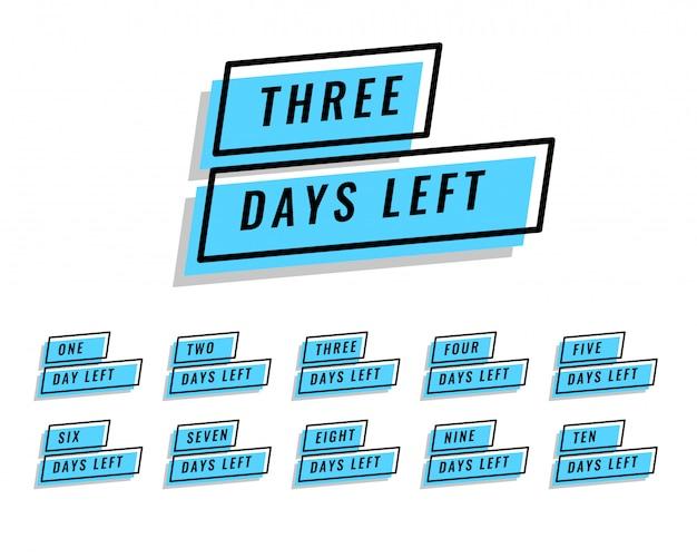 Aantal resterende dagen banner voor verkoop en promotie Gratis Vector