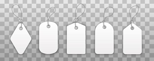 Aantal stickers met een koord, winkelen etiketten met touw. Premium Vector
