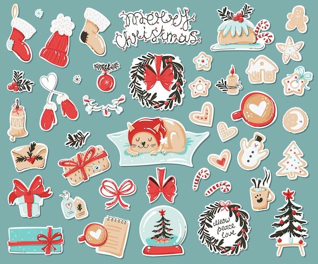 Aantal stickers met kerstartikelen. Premium Vector
